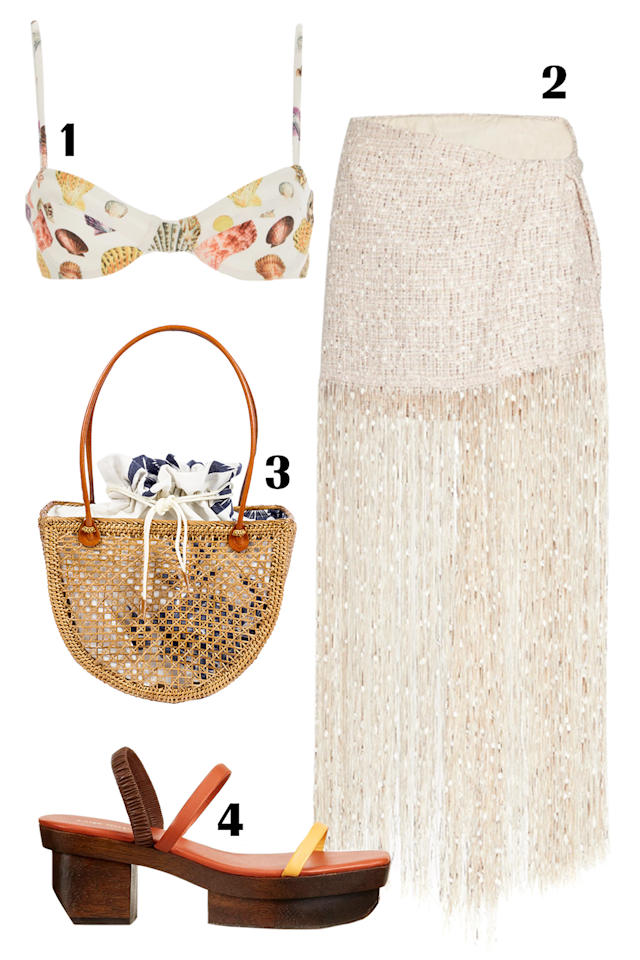 """<p>Shell accessories have made a comeback this summer, but if the surfer look isn't for you, then opt for a shell-printed bikini. It's a way to embrace the trend without having actual seashells dangle from your ears or neck. If you're a bride-to-be, get this fringe skirt as your honeymoon cover-up because it's the perfect statement-making piece. Add in touches of natural elements like this woven bag and wooden heel to complete your beach-glam ensemble.</p><p><strong>Shop the pieces: 1. </strong><em><a href=""""https://www.revolve.com/agua-bendita-lena-bikini-top/dp/AGUA-WX317/?d=Womens&page=1&lc=27&itrownum=9&itcurrpage=1&itview=01"""" target=""""_blank"""">Agua by Agua Bendita bikini top</a>, </em>$100; <strong>2.</strong> <em><a href=""""https://www.jacquemus.com/product/la-jupe-capri-beige/"""" target=""""_blank"""">Jacquemus skirt</a>, </em>$500; <strong>3.</strong> <em><a href=""""https://www.beachgoldbali.com/collections/accessories/products/rattan-frankie-handbag-natural"""" target=""""_blank"""">Beachgold handbag</a>, </em>$125; <strong>4.</strong> <em><a href=""""https://cultgaia.com/products/fifi-sandal-spice-multi"""" target=""""_blank"""">Cult Gaia sandal</a>, </em>$338</p>"""