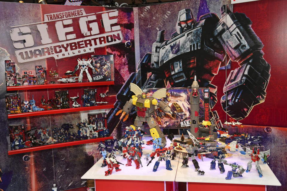 IMAGE DISTRIBUTED FOR HASBRO - The TRANSFORMERS: WAR FOR CYBERTRON collection, which introduces an expansive ecosystem of collectible TRANSFORMERS figures, is on display at the Hasbro, Inc. showroom during American International Toy Fair on Saturday, Feb. 16, 2019 in New York. Figures in the line include story-inspired details, and allow fans to build the ultimate battlefield. (Charles Sykes/AP Images for Hasbro)