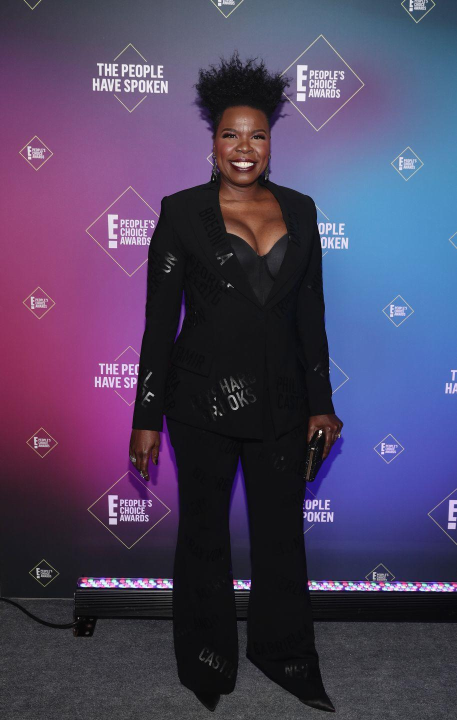 <p>Leslie Jones chose to make a powerful statement with her suit. The actress' tailored Christian Siriano two-piece was printed with the names of victims of police brutality.</p>