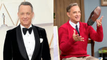 """Tom Hanks playing Mister Rogers is perhaps the ultimate casting no-brainer. Marielle Heller presumably had a very short shortlist when she sought to cast the children's TV legend for <em>A Beautiful Day in the Neighbourhood</em>. As <a href=""""https://www.youtube.com/watch?v=ZI0UpRNq1xg"""" rel=""""nofollow noopener"""" target=""""_blank"""" data-ylk=""""slk:this behind-the-scenes featurette"""" class=""""link rapid-noclick-resp"""">this behind-the-scenes featurette</a> explains, it's essentially some eyebrow work and a wig, but the result is an uncanny evocation of an iconic American figure. (Credit: P. Lehman/Barcroft Media/Getty/Sony)"""