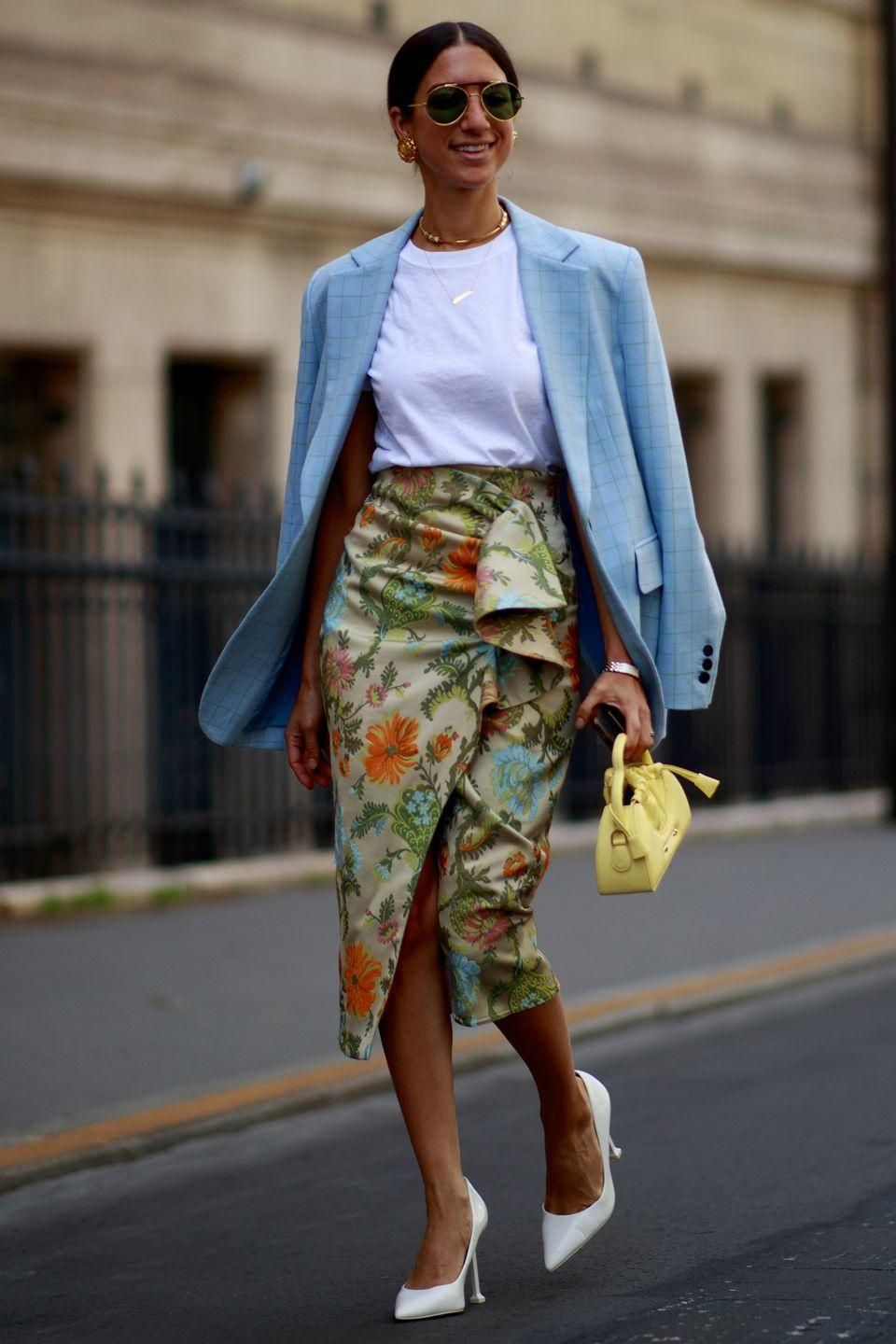 <p>This summery colour palette is a treat for the eyes, and matching elements help tie the whole ensemble together. Copy the look by wearing your humble white T-shirt with a printed skirt and slick white heels.</p>