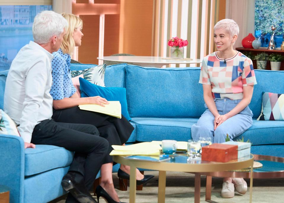 The Eurovision singer spoke about her injuries on This Morning. (REX)
