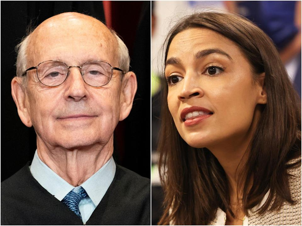 New York Rep Alexandria Ocasio-Cortez has said that she agrees that liberal Supreme Court Justice Stephen Breyer should retire in the near future.  (Getty)