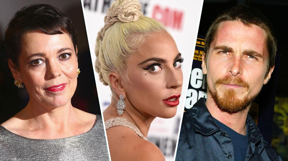 Olivia Colman, Lady Gaga, and Christian Bale are all in the running at the 2019 Golden Globes. (AP/Getty)