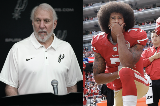 "Gregg Popovich believes Colin Kaepernick will be recognized for his ""courageous"" actions. (AP Photos)"
