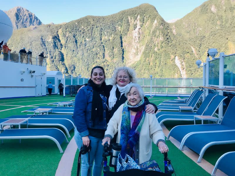 Sydney businesswoman Janet Dixon-Hughes, daughter Polly and her 95-year-old mother Wynne King pose for a photo on the cruise ship Ruby Princess in Fiordland National Park