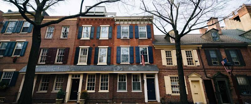 Historic brick buildings in Society Hill, Philadelphia, Pennsylvania.