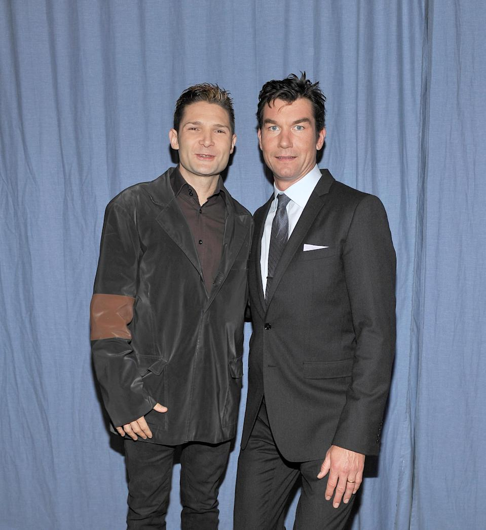 Jerry O'Connell with Corey Feldman at the 25th Anniversary interview with the director and cast of <i>Stand by Me</i> on March 16, 2011. (Photo: John M. Heller/Getty Images)