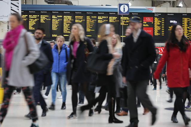 Commuters arrive at Victoria station on their way to work in central London in 2017. Photo: PA