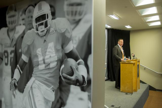 University of Tennessee football coach Butch Jones talks about the NCAA college football team's signing class on Wednesday, Feb. 5, 2014, in Knoxville, Tenn. (AP Photo/Knoxville News Sentinel, Saul Young)