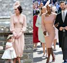 <p>Did Serena Williams base her royal wedding look on the Duchess of Cambridge's matron of honour Alexander McQueen dress? We may never know, but the blush sheath dresses and delicate side fascinators are awfully similar.</p>