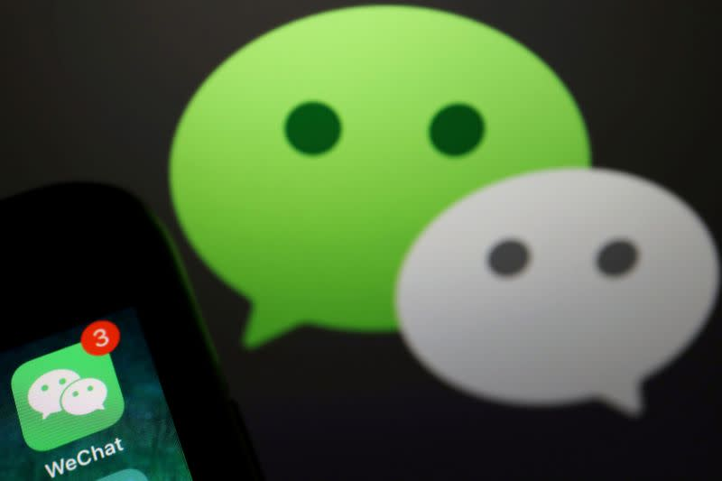 FILE PHOTO: Illustration picture of Wechat app on a mobile phone