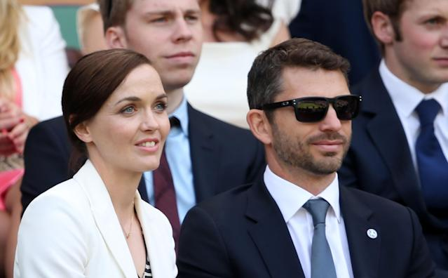 LONDON, ENGLAND - JUNE 29: Victoria Pendleton and fiance Scott Gardner attned the Gentlemen's Singles third round match between Richard Gasquet of France and Bernard Tomic of Australia on day six of the Wimbledon Lawn Tennis Championships at the All England Lawn Tennis and Croquet Club on June 29, 2013 in London, England. (Photo by Clive Brunskill/Getty Images)