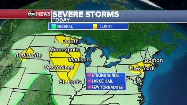 PHOTO: Severe storms are forecast for the Upper Midwest on Wednesday. (ABC News)