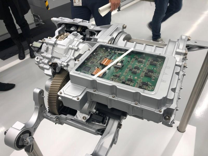 An electric motor assembly is seen at Porsche's Zuffenhausen manufacturing complex, in Stuttgart