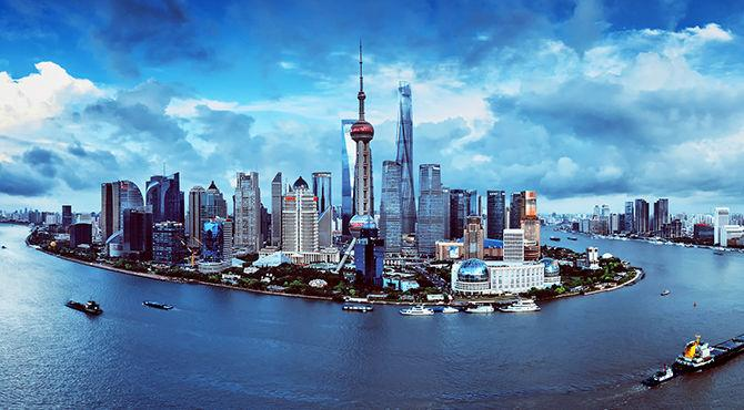 The storm surge in Shanghai Lujiazui financial district,this picture can be used in car ads,real estate ads,finance ads and tourism ads.