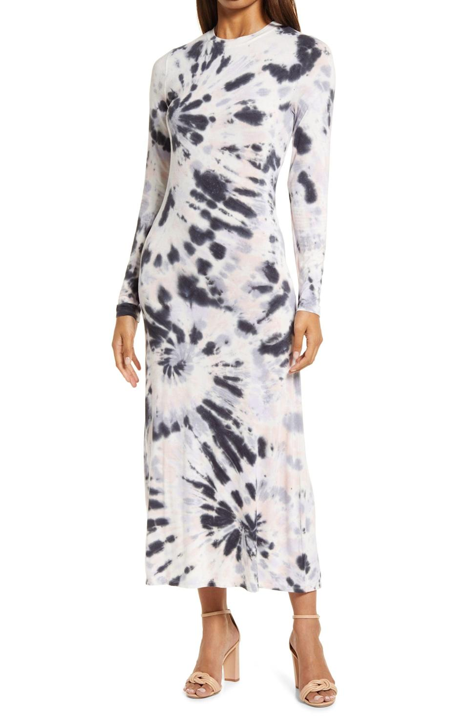 <p>This figure-skimming <span>Fourteenth Place Tie Dye Long Sleeve Maxi Dress</span> ($69) will make you look and feel fabulous. It's designed from a stretchy knit fabric, so rest assured you'll also be comfortable while wearing it.</p>
