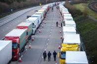 Parked lorries on the outskirts of Ashford, amid the coronavirus disease (COVID-19) outbreak