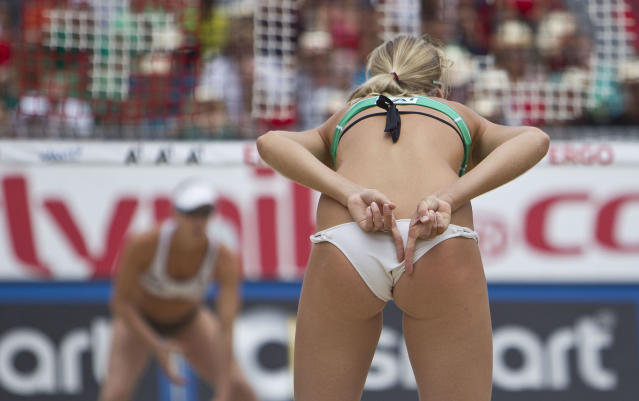 KLAGENFURT, AUSTRIA - JULY 22: Ekaterina Khomyakova of Russia argues during the final match of the A1 Beach Volleyball Grand Slam on July 22, 2012 in Klagenfurt, Austria. (Photo by Mathias Kniepeiss/Getty Images)