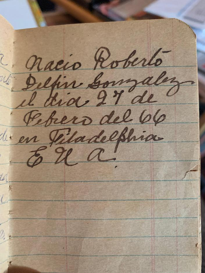 While communication was difficult between those in Cuba and in the United States, news would trickle back to the island. Here, my great grandfather notes the birth on my youngest uncle back in Philadelphia on Feb. 27, 1966.