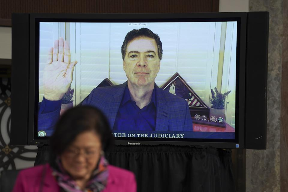 Former director of the Federal Bureau of Investigation James Comey swears in via videoconference during a Senate Judiciary Committee hearing on Wednesday, September 30, 2020 on Capitol Hill in Washington, DC.