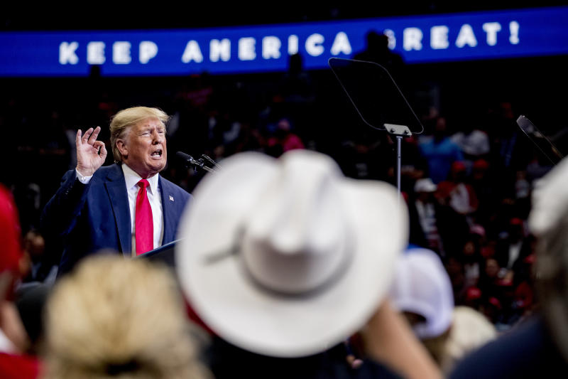 President Donald Trump speaks at a campaign rally at American Airlines Arena in Dallas, Texas, Thursday, Oct. 17, 2019. (AP Photo/Andrew Harnik)