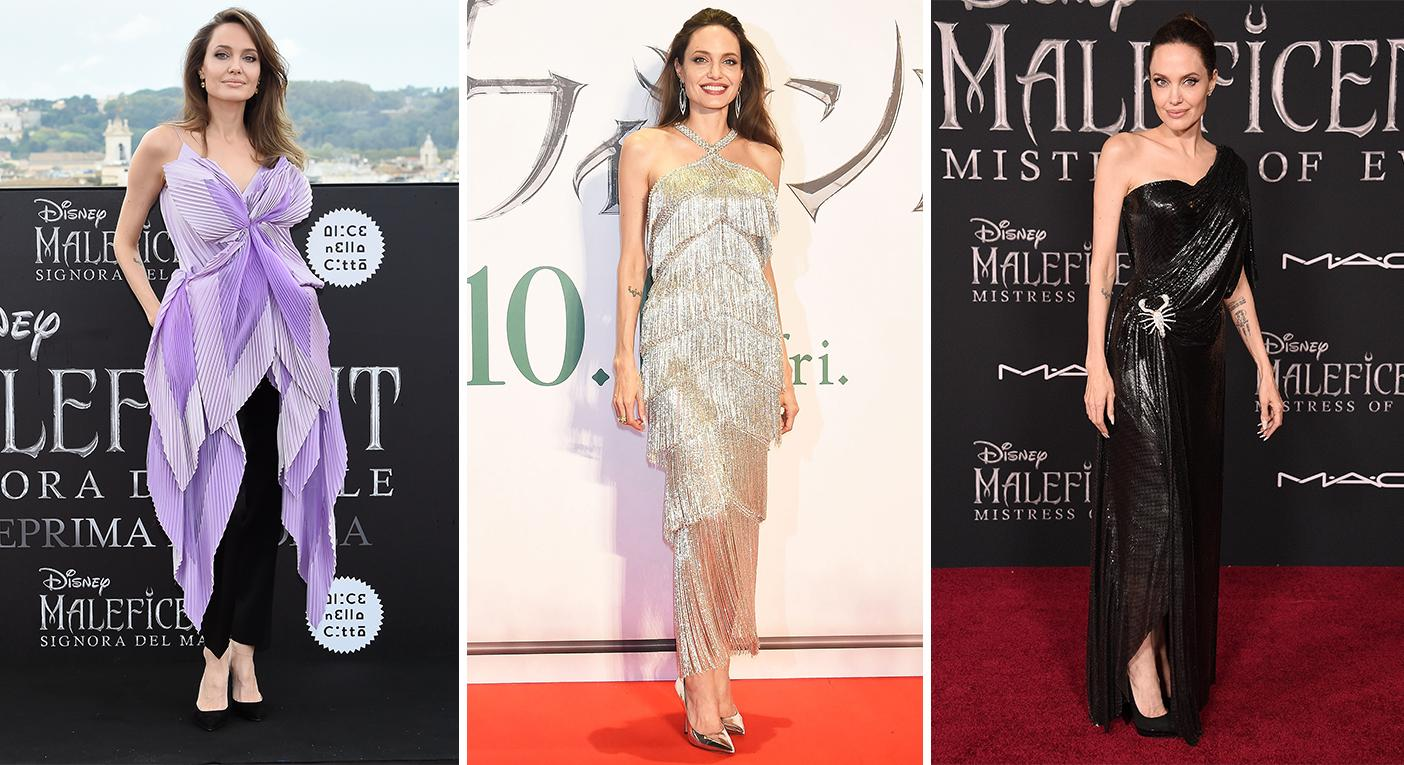 Angelina Jolie in Rome (left), Tokyo (middle) and LA (right) celebrating various 'Maleficent' premieres [Photos: Getty]