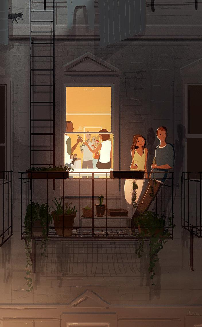 In addition to capturing his family life, Campion enjoys drawing crowds, people doing things, seasons and funny animals.  (Pascal Campion Art)