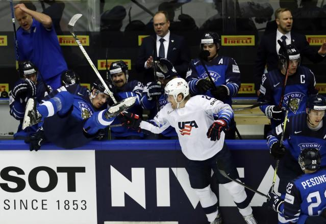 Ice Hockey - 2018 IIHF World Championships - Group B - Finland v USA - Jyske Bank Boxen - Herning, Denmark - May 15, 2018 - Blake Coleman of the U.S. in action in front of Finland's bench. REUTERS/David W Cerny