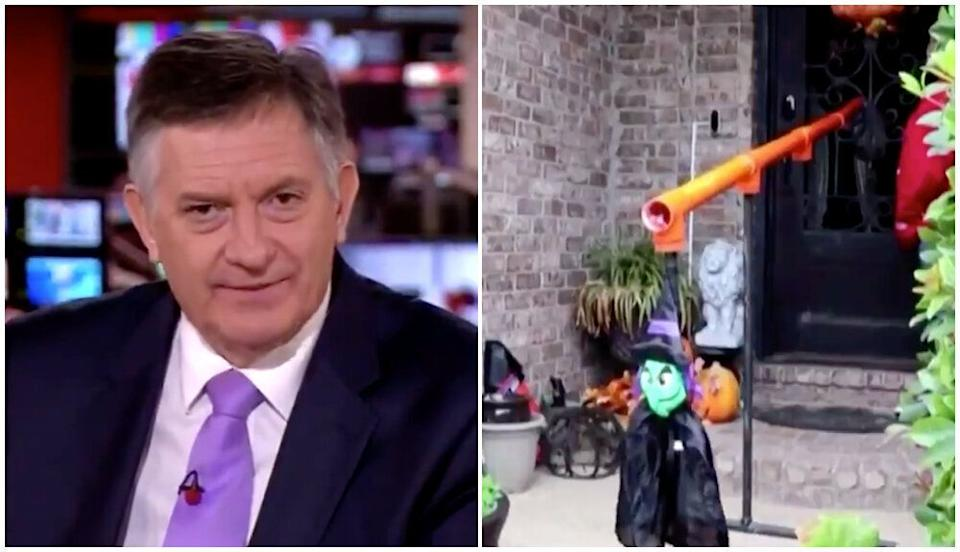 Simon McCoy appeared not to be a fan of this Covid-friendly Halloween device featured on BBC News (Photo: BBC)