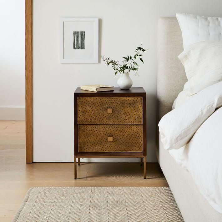<p>This <span>West Elm Decker Nightstand</span> ($179 - $358) marries solid wood and brass metal legs for an antique yet elevated look. </p>