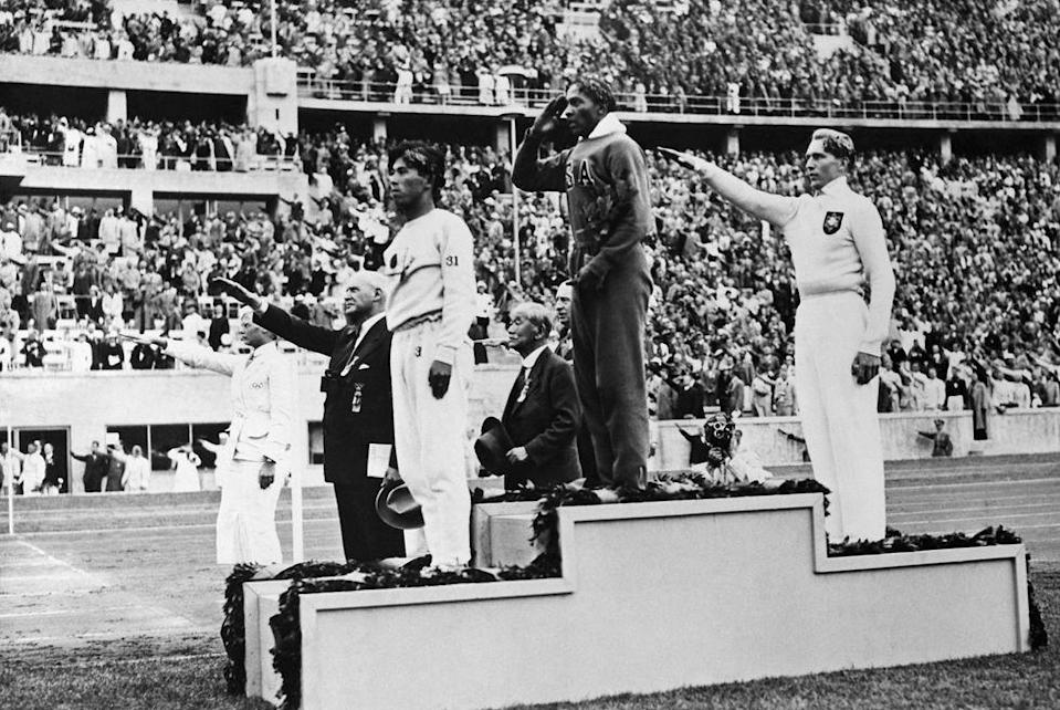 <p>Jesse Owens won four gold medals for track in the '36 Olympics, proving himself a phenomenal, non-Aryan athlete as Nazi Germany and Adolf Hitler looked on. </p>