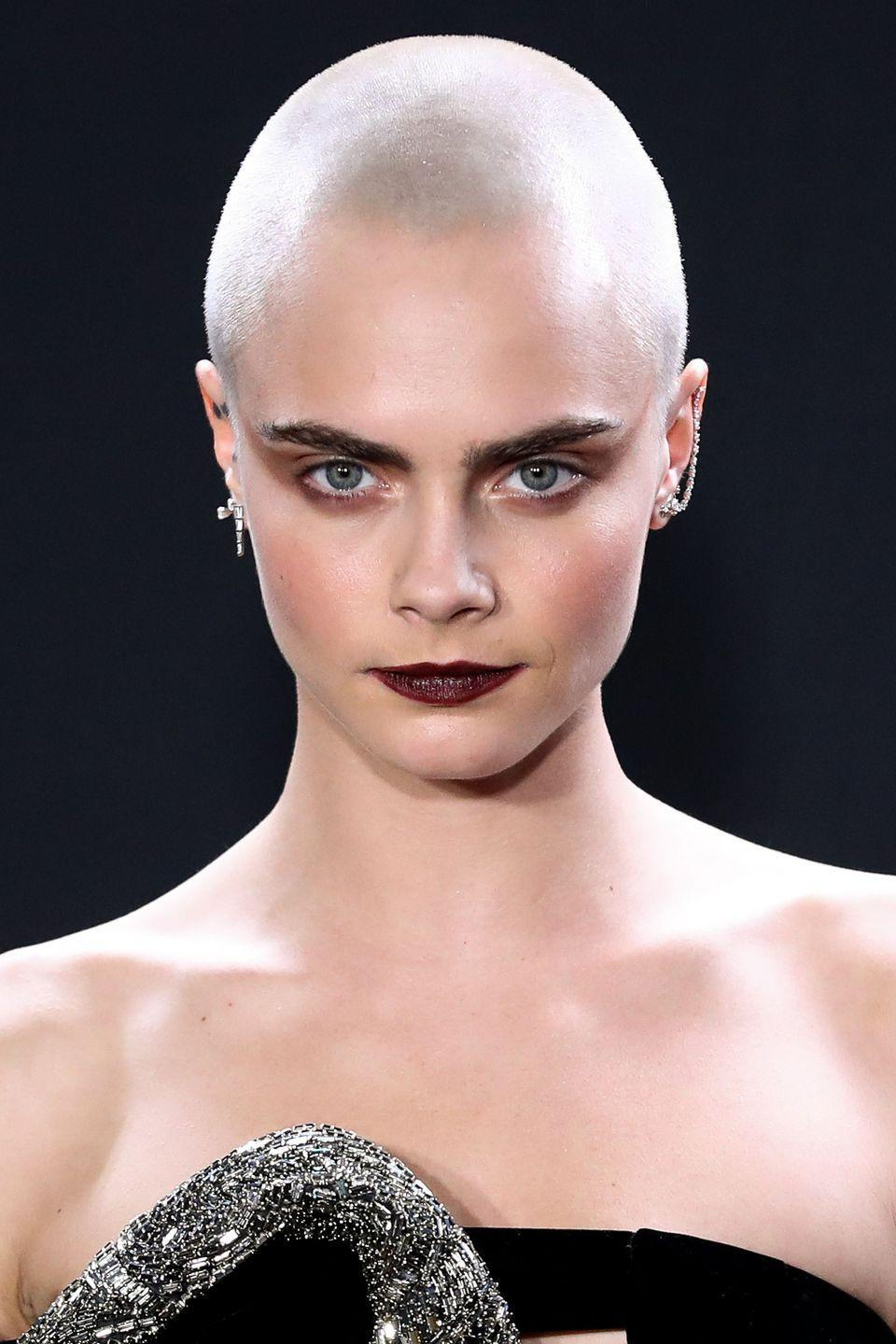 <p>From a blonde bob, to a crop, to a full on freshly shaved head, if we wanted to look like anyone with a buzz cut it would be Cara.</p>