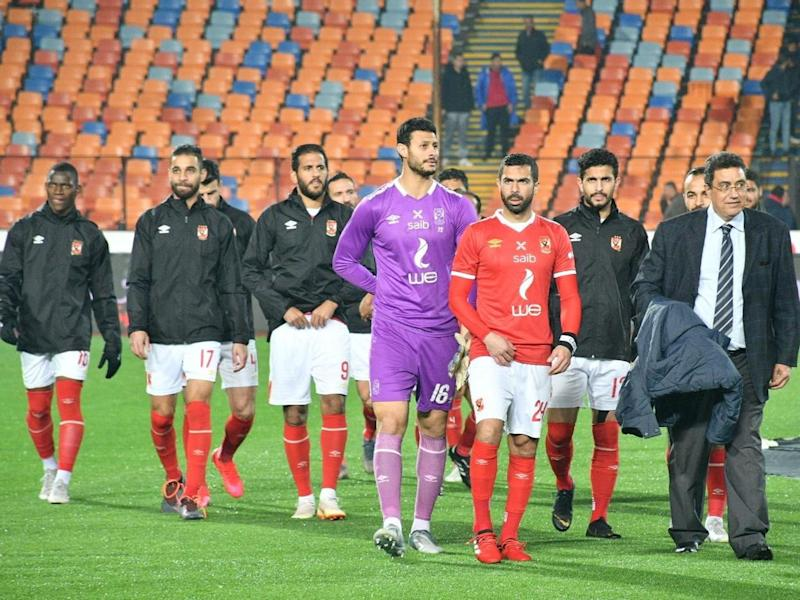 Ahly's players leave the pitch following the Egyptian league match between Al-Ahly and Zamalek at the Cairo International Stadium in the Egyptian capital on February 24, 2020: AFP via Getty Images