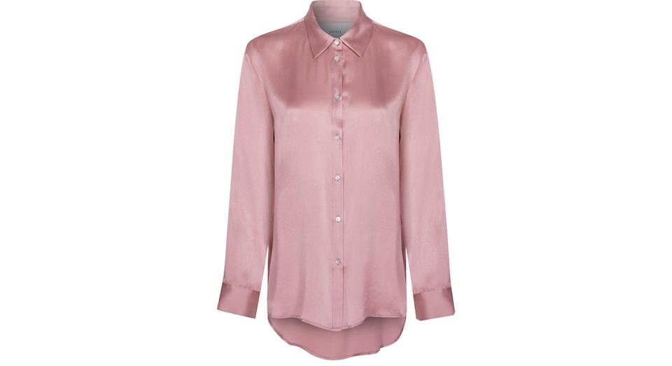LONDON DUSTY ROSE SILK PYJAMA SHIRT