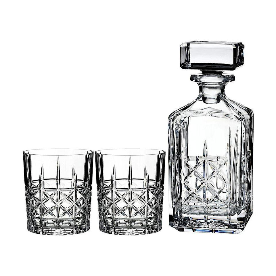 "<p><strong>Marquis By Waterford</strong></p><p>amazon.com</p><p><strong>$100.00</strong></p><p><a href=""https://www.amazon.com/dp/B01HIWFDJK?tag=syn-yahoo-20&ascsubtag=%5Bartid%7C10050.g.36302897%5Bsrc%7Cyahoo-us"" rel=""nofollow noopener"" target=""_blank"" data-ylk=""slk:Shop Now"" class=""link rapid-noclick-resp"">Shop Now</a></p><p><strong><em>Marquis by Waterford Brady Decanter Set</em></strong></p><p>Tennessee whiskey, including industry leader Jack Daniel's, is one of the top 10 exports of this Southern state. You'll want this Waterford crystal decanter set, complete with four whiskey tumblers, so you can feel like a whiskey expert — whether you're in Tennessee or not.</p>"