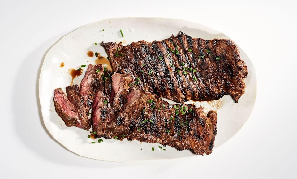 """The white vinegar's acidity curbs the onion's bite and highlights its sweetness, resulting in the perfect marinade. <a href=""""https://www.bonappetit.com/recipe/sweet-onion-marinated-skirt-steak?mbid=synd_yahoo_rss"""" rel=""""nofollow noopener"""" target=""""_blank"""" data-ylk=""""slk:See recipe."""" class=""""link rapid-noclick-resp"""">See recipe.</a>"""