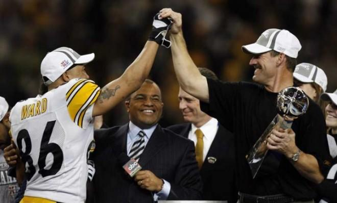 Pittsburgh Steelers coach Bill Cowher and Hines Ward high-five after their sixth-seeded team beat the Seattle Seahawks in the 2006 Super Bowl.