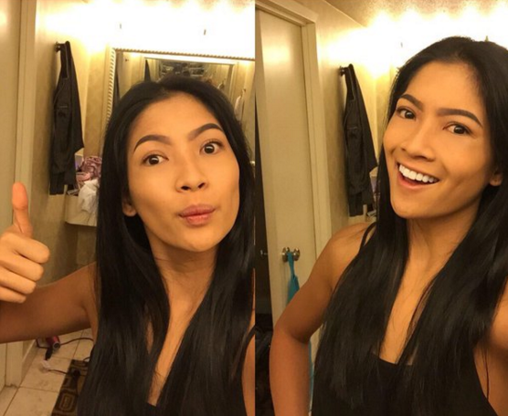 """<p>""""Right before the @MissUniverse Preliminary, I was challenged by committee for no-makeup selfie #ConfidentlyBeautiful"""" <i>(Photo: <a href=""""https://twitter.com/anindyakputri/status/677414950348783617"""" rel=""""nofollow noopener"""" target=""""_blank"""" data-ylk=""""slk:Twitter"""" class=""""link rapid-noclick-resp"""">Twitter</a>)</i></p>"""