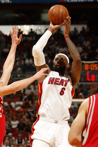 MIAMI, FL - APRIL 22: LeBron James #6 of the Miami Heat shoots against the Houston Rockets on April 22, 2012 at American Airlines Arena in Miami, Florida. (Photo by Issac Baldizon/NBAE via Getty Images)