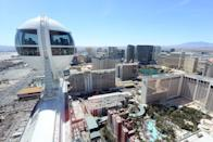 """<p>Ferris Wheels never hold on to the title of tallest for very long — the record's been broken four times since the year 2000 — but the current champ is at the LINQ in Las Vegas. <a href=""""https://go.redirectingat.com?id=74968X1596630&url=https%3A%2F%2Fwww.caesars.com%2Flinq%2Fhigh-roller&sref=https%3A%2F%2Fwww.redbookmag.com%2Flife%2Fg36983760%2Fhistoric-amusement-park-rides%2F"""" rel=""""nofollow noopener"""" target=""""_blank"""" data-ylk=""""slk:The High Roller"""" class=""""link rapid-noclick-resp"""">The High Roller</a> rises to a height of 550 feet — beating its predecessor, the <a href=""""https://www.singaporeflyer.com/"""" rel=""""nofollow noopener"""" target=""""_blank"""" data-ylk=""""slk:Singapore Flyer"""" class=""""link rapid-noclick-resp"""">Singapore Flyer</a>, by just nine feet — and takes 30 minutes to do one rotation. </p>"""