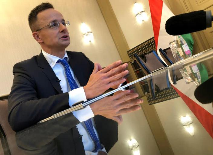 FILE PHOTO: Hungarian Foreign Minister Szijjarto attends an interview with Reuters in Budapest