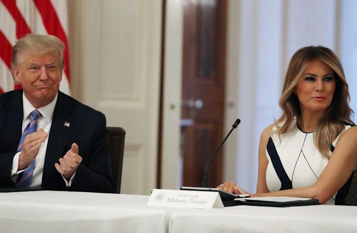 President Donald Trump and first lady Melania Trump participate in a White House event with students, teachers and administrators about how to safely re-open schools during the novel coronavirus pandemic.