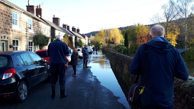 Handout photo issued by Mike Saqui showing flooding in Belper, Derbyshire (PA)