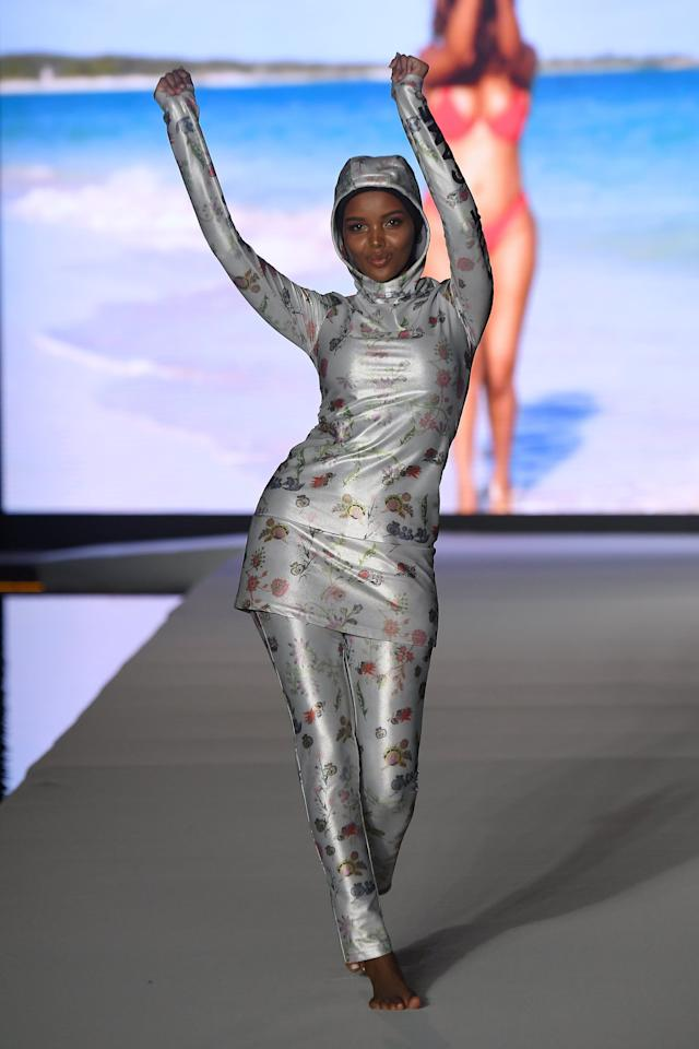 Halima Aden Wowed in a Custom Cynthia Rowley Burkini on the Sports Illustrated Runway