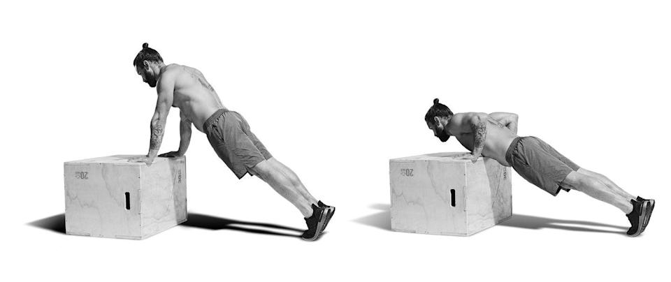<p><strong>15 reps</strong></p><p>Now spin around to place your hands on the chair or box, assuming a strong plank position (A). At the same tempo as before, flex at the elbow and lower towards the box until your chest just touches it (B). Power back up until your elbows are locked out. No time to admire the pump yet – finish your reps, then get ready for another L-Sit.<br><br></p><p><br></p>