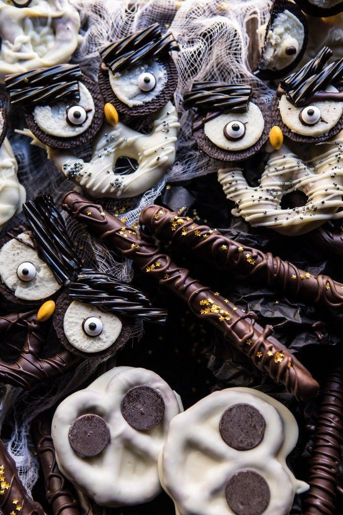 """<p>A sweet and salty combo never fails! The good news is that the messier you are when creating these, the better they turn out. </p><p><a class=""""link rapid-noclick-resp"""" href=""""https://www.halfbakedharvest.com/spooky-halloween-pretzels/"""" rel=""""nofollow noopener"""" target=""""_blank"""" data-ylk=""""slk:GET THE RECIPE"""">GET THE RECIPE</a></p>"""