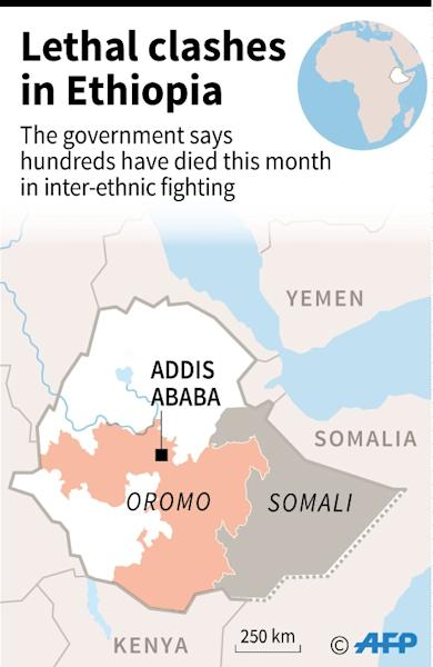 Map of Ethiopia locating the regions in which the Oromo and Somali people live. Recent clashes between the two ethinic groups have left hundreds dead, says the government. (AFP Photo/Kun TIAN)