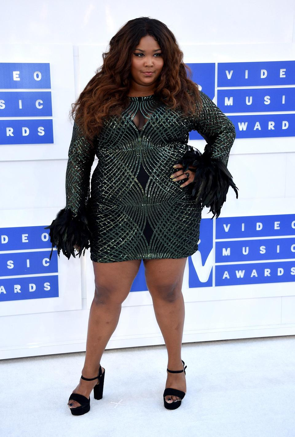 Lizzo's penchant for feathers could be an indication that she knew she was born to fly. Before her big break, she donned this feather-trimmed, forest green mini dress to the MTV Music Awards in 2016.