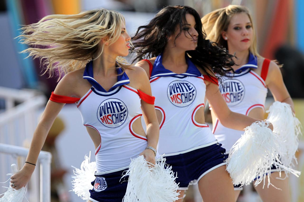 HYDERABAD, INDIA - SEPTEMBER 19:  White Mischief Cheer leaders perform during the Champions League Twenty20 qualifier match between Trinidad & Tobago and Ruhuna Eleven at Rajiv Gandhi International Cricket Stadium on September 19, 2011 in Hyderabad, India. (Photo by Santosh Harhare/Hindustan Times via Getty Images)